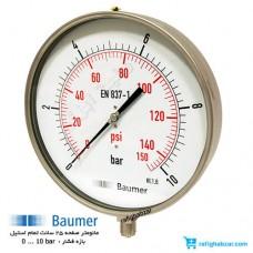مانومتر 10 بار تمام استیل Baumer آلمان صفحه 25 سانت
