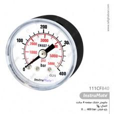 مانومتر خشک 400 بار InstruMate صفحه 4 سانت افقی