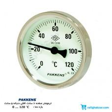 ترمومتر 120 درجه پکنز Pakkens صفحه 6 سانت دنباله 5 سانت اتصال افقی