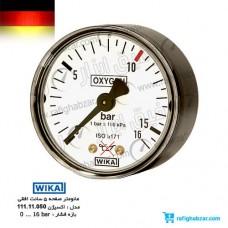 گیج فشار اکسیژن WIKA افقی