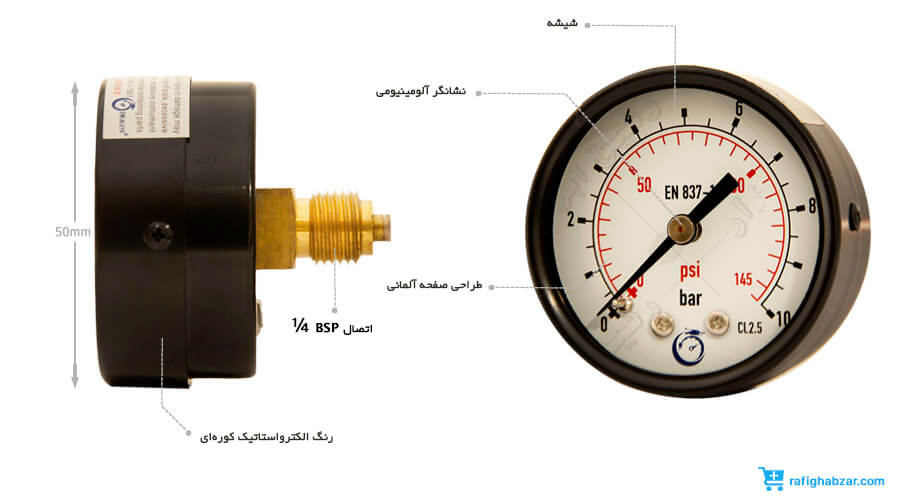 مانومتر خشک افقی صفحه 50 میلیمتر DRAGON