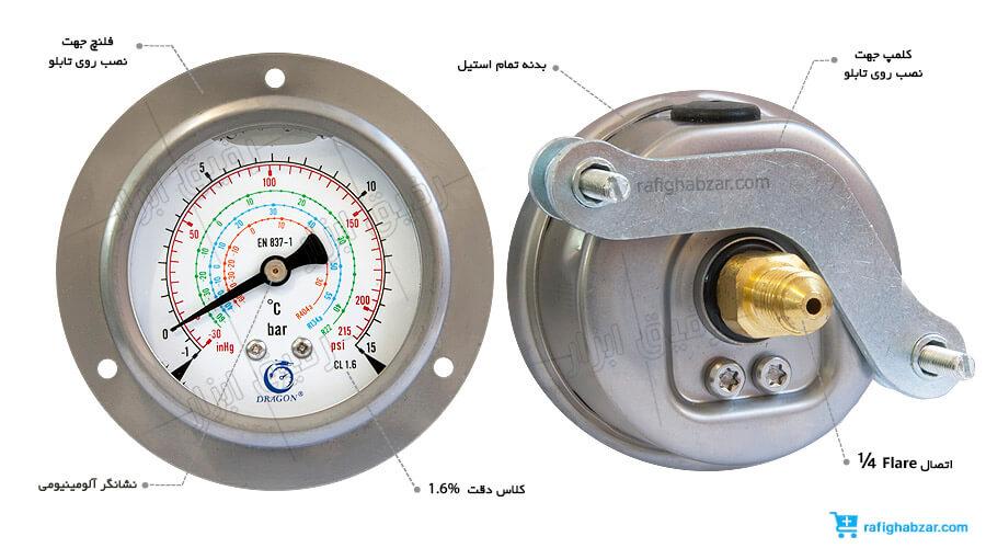 مانومتر روغنی گاز فریون Dragon  صفحه 6 سانت افقی