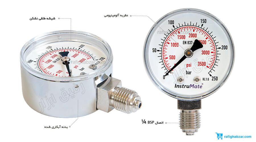 گیج فشار اکسیژن 250 بار InstruMate