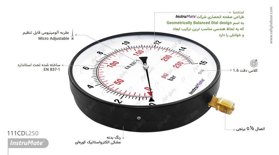 مانومتر خشک InstruMate صفحه 25 سانت مدل 111CD