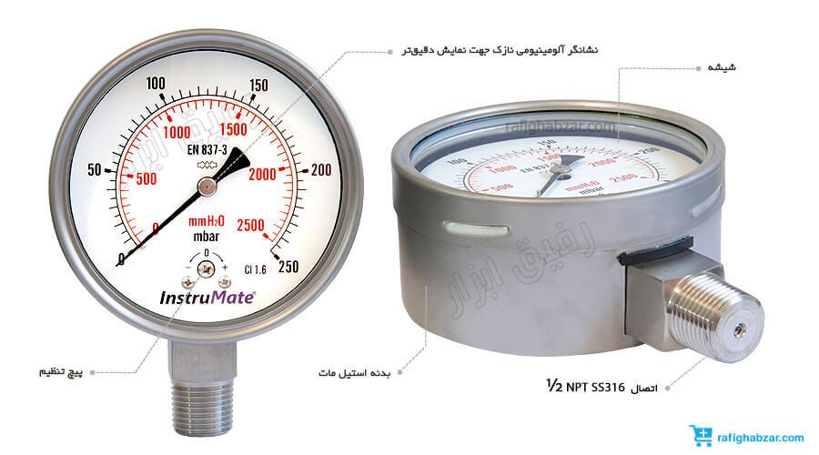 فشارسنج میلی بار اینسترومیت InstruMate صفحه 10 سانت مدل 612.20.100