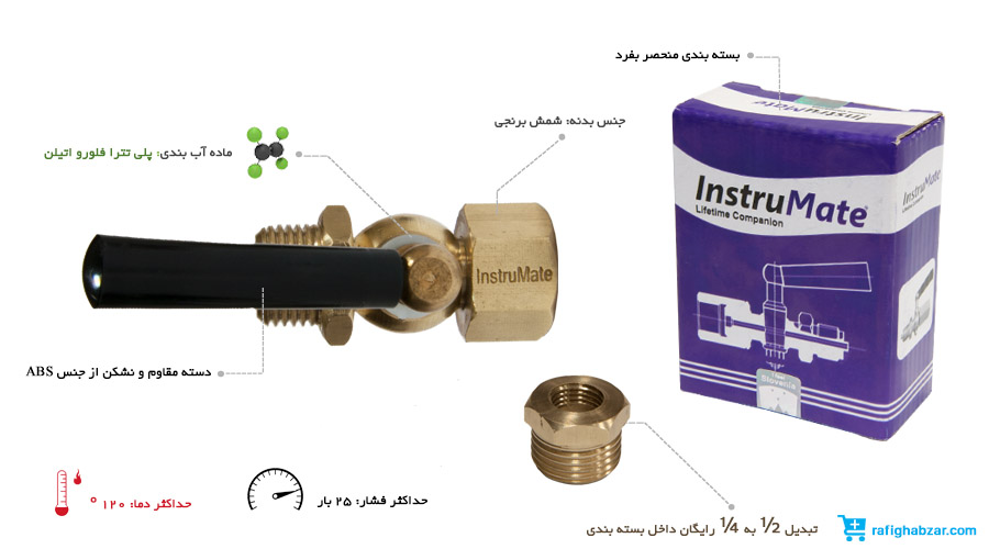 شیرسماوری InstruMate - آب بندی با PTFE
