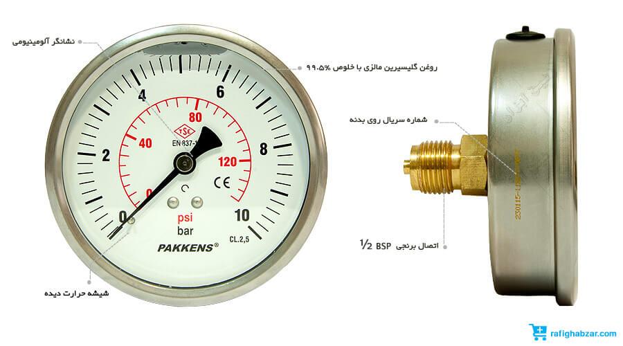مانومتر روغنی پکنز Pakkens صفحه 10 سانت افقی
